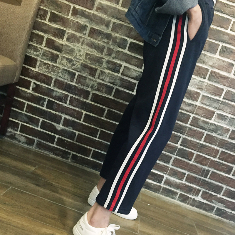summer women Harajuku BF wind loose casual wild students high waist stripes Hit color Straight Wide feet pants for girls