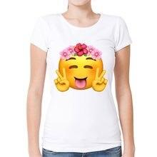Fashion Cute Flower Emoji T Shirt Girl Birthday Gift Summer Womens Cartoon Short Sleeve Tops