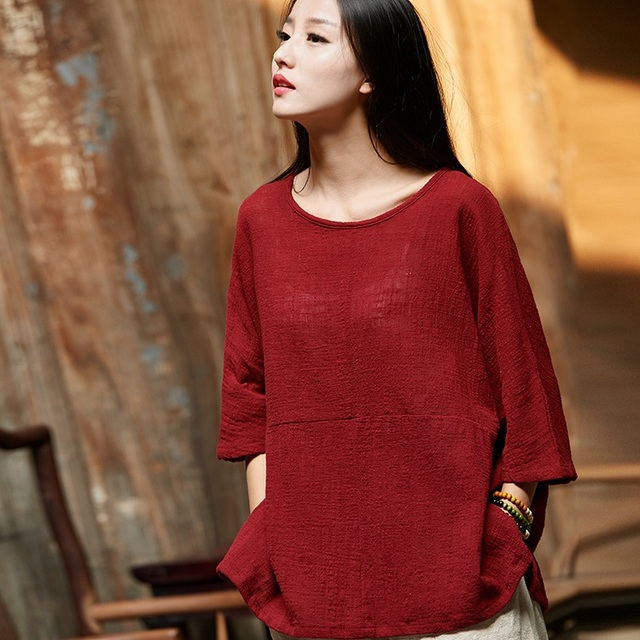ORIGOODS Solid color Plus size Women Blouse Shirt Cotton Vintage Summer Loose Casual Shirts Women Tops and Blouses Femme B202 2