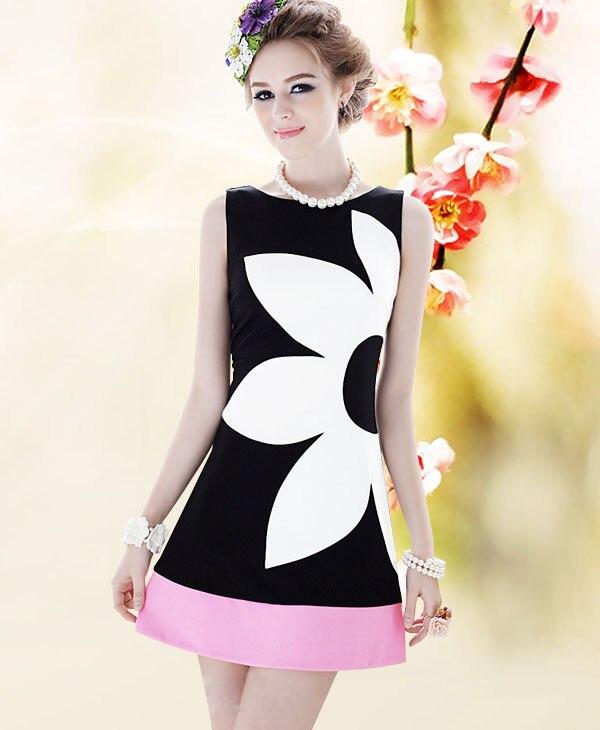 5da667ebdd 2018 roupas de verão nova rosa preto e branco mosaico rosa flores de Slim  sem mangas Um-tipo vestido de as mulheres se vestem de varejo