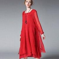 2017 Autumn New Plus Size Silk Chiffon Dress Red Loose Long Sleeve High Waist Chiffon Dress