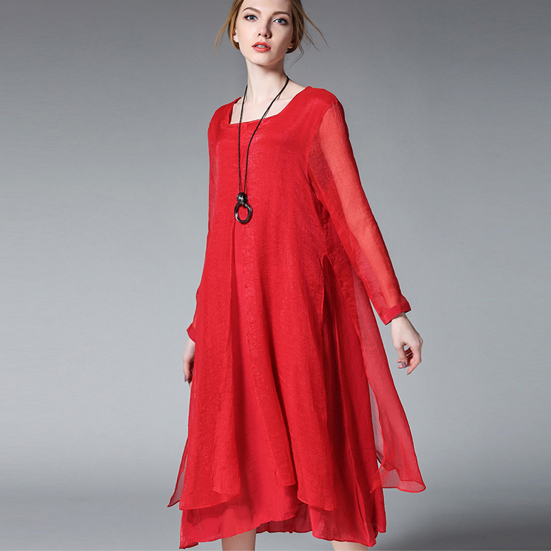 Spring Autumn new plus size Silk chiffon dresses red loose long sleeve high waist chiffon dress women's clothing size XL to 4XL