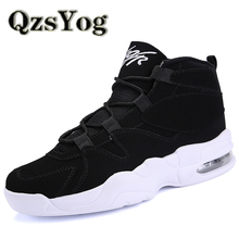 QzsYog Big Size 39-45 Men Running Shoes Air Cushion High Top Sneakers Outdoor Sport Jogging Shoes Ankle Boots Athletic Walking