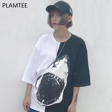 PLAMTEE Black White Hit Color Summer Tops 2017 Fashion Printed Shark T-Shirt For Women Loose Round Neck T Shirts Harajuku Tshirt