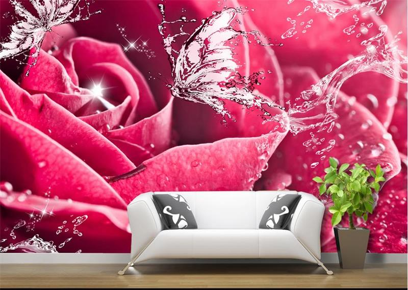 3d photo wallpaper custom mural room non-woven butterfly water red rose painting picture 3d wall murals wallpaper for walls 3d custom photo 3d wall murals wallpaper mountain waterfalls water decor painting picture wallpapers for walls 3 d living room