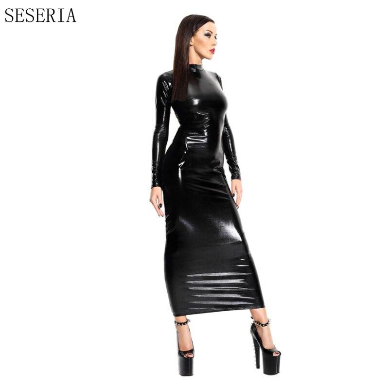 Schwarz Damen Halloween Kleid Catsuit Latex Sexy Seseria Hot Frauen j45ARL3