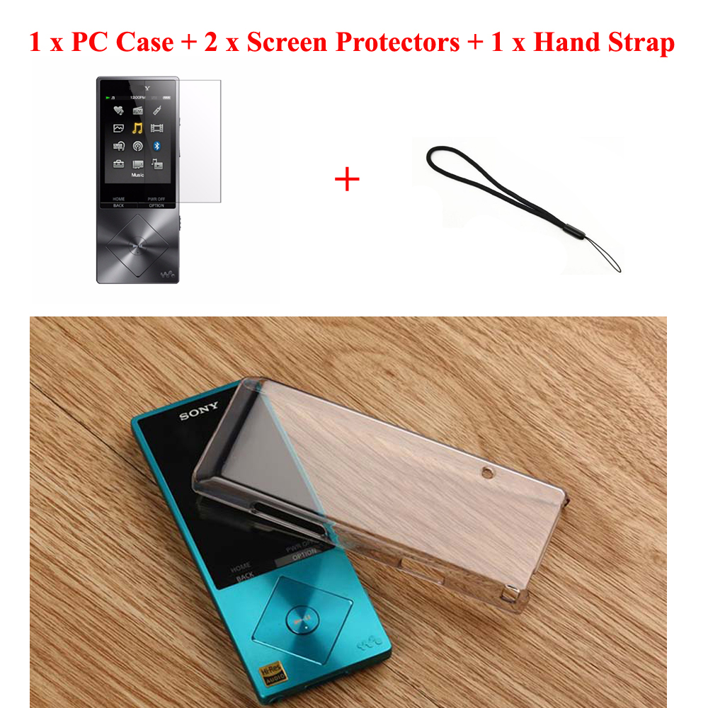 Running Camel Clear Crystal Transparent Hard Case Cover Shell for Sony Walkman NWZ-A15 A17 + Screen Protector Film Hand Strap