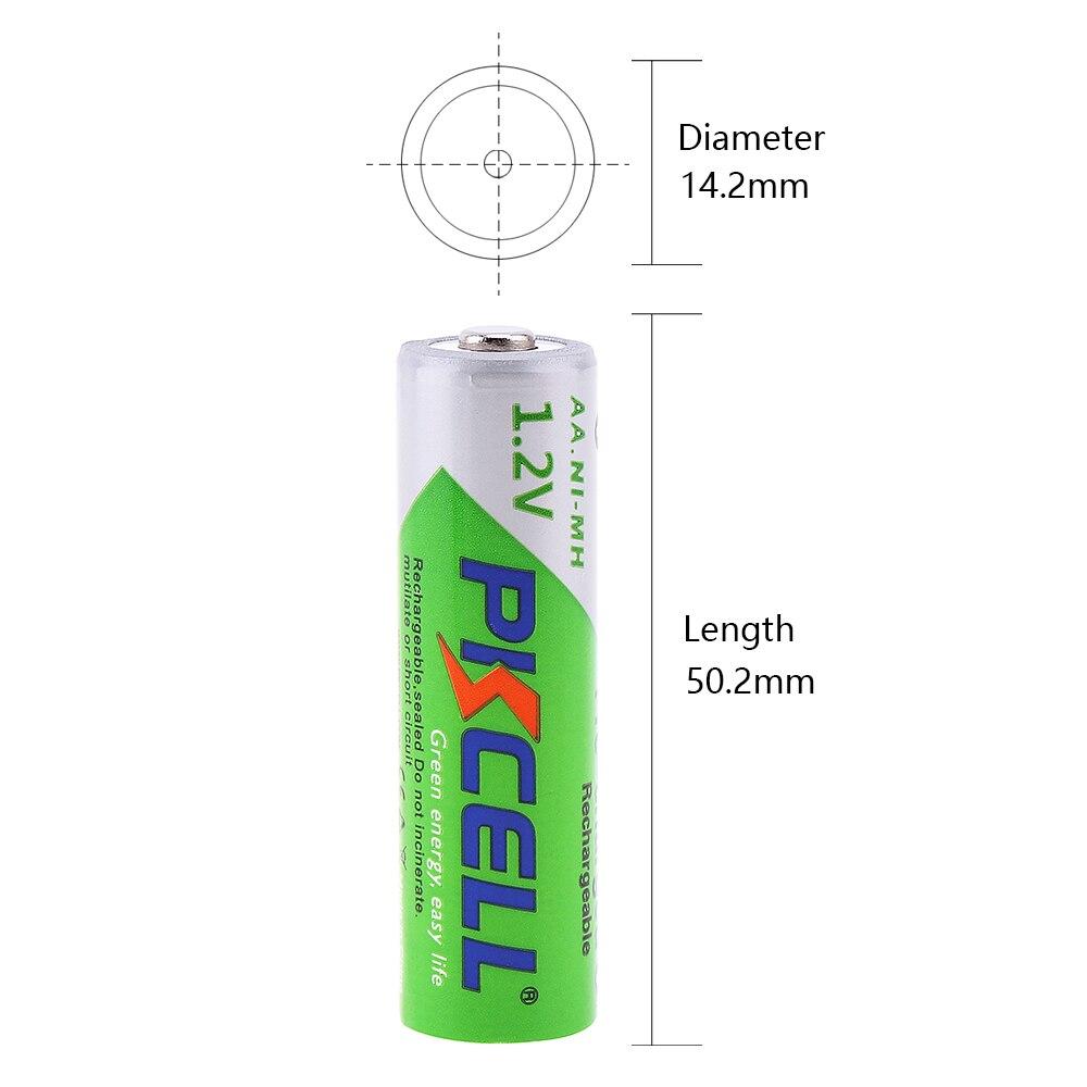 PKCELL 2Pack/8pcs NiMh AA Battery 1.2V 2200mAh AA Rechargeable Batteries + 2Pack/8pcs Ni-MH 850mAh AAA Rechargeable Battery