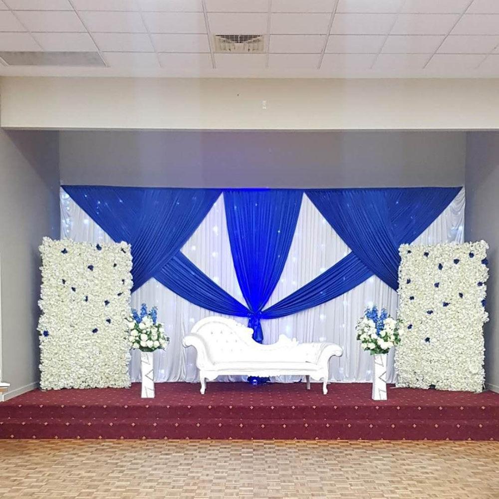 Wedding White Event: Hot Sale White Wedding Backdrop Royal Blue Drapes For
