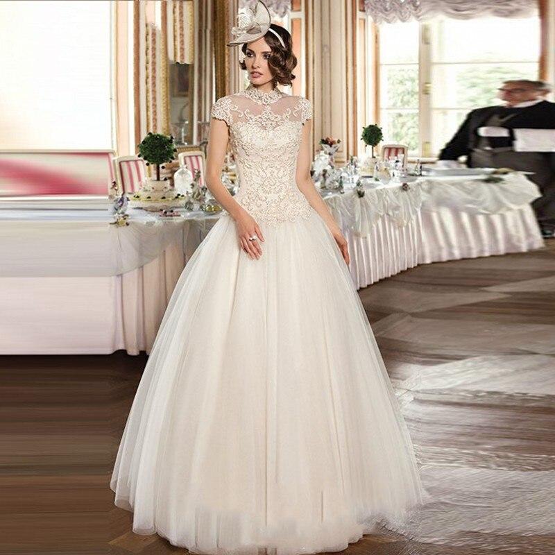 Vintage Wedding Dress Pearls Appliques Bridal Dresses High Collar
