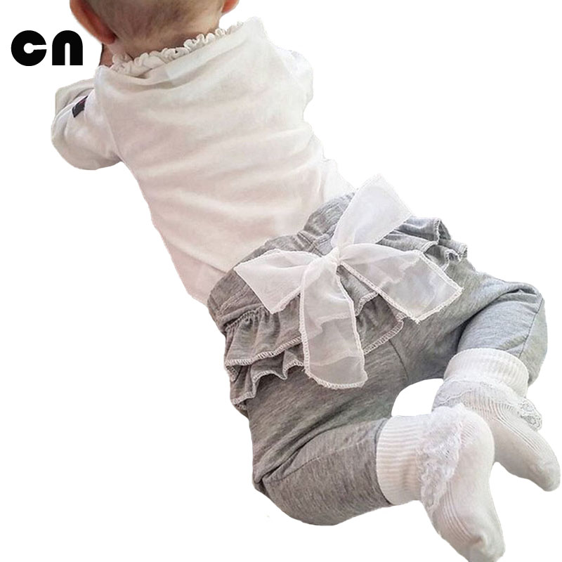 Baby girls pants Newborn pants White Chiffon big bow Baby Leggings 0-2 years  Spring Autumn Trousers  Baby clothing Gray & Pink