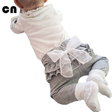 CN 2017 spring and autumn new Kids baby clothing White Chiffon big bow gray baby Trousers pants 0-2 years old Baby girl Leggings