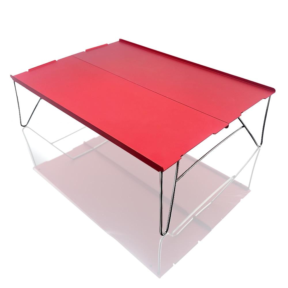 Red Portable Ultra-light Small Mini Aluminum Folding Camping Table Desk Picnic Outdoor Travel Hiking Fishing