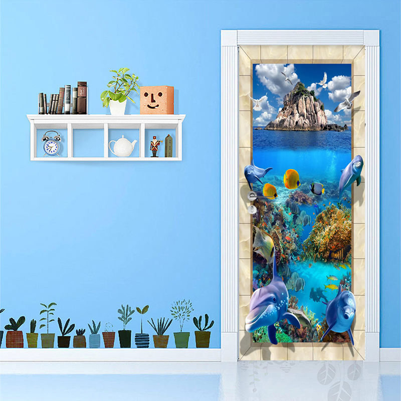 Photo Wallpaper 3D Underwater World Murals Kid's Bedroom Living Room Door Sticker PVC Waterproof Eco-Friendly Wall Papers Decor