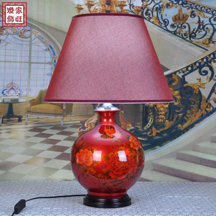 red wedding table lamp genuine crystal glaze jingdezhen