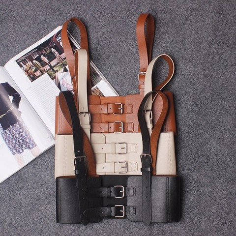 TWOTWINSTYLE Sexy Punk Lady Harness Suspenders Belts Strap Faux Leather Body Bondage Women Waist Belts Adjustable  Accessories Multan