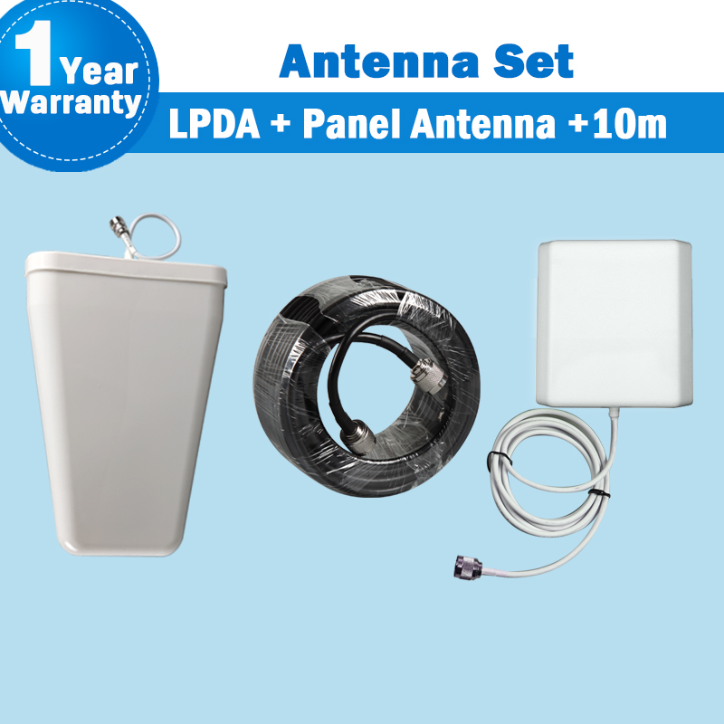 GSM 2G 3G WCDMA 4G LTE Outdoor LPDA External Antenna + Panel Antenna +10 Meters Coaxial Cable For Mobile Phone Siganl Booster 29