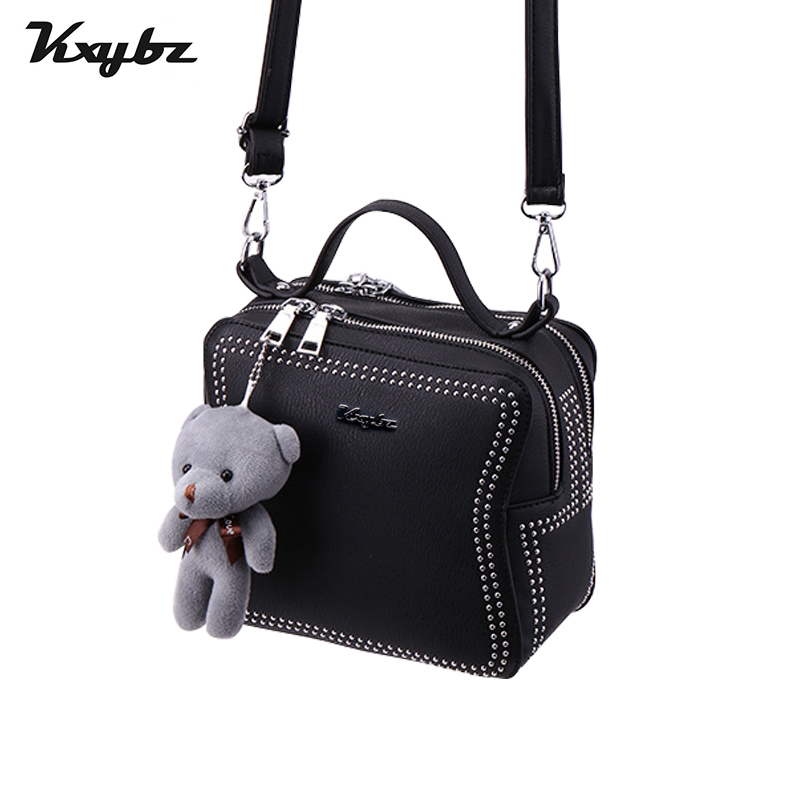 KXYBZ Womens Bag Small Square Bag For Girls Rivet Retro Lovely Bear Pendant Women Crossbody Bag Fashion Female Sac A Main K3006 remote control charging helicopter