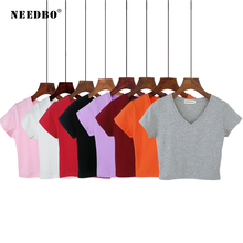 NEEDBO 6 Color Sexy Crop Top t shirt Femme Short Sleeve Casual Cotton Tshirt for Women High Waist Slim T-shirt Sport Tops & Tees