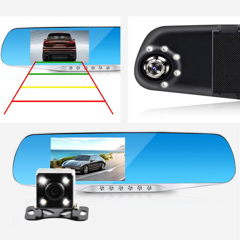 Prix pour Jansite Nuit Vision Voiture Dvr détecteur Caméra Bleu Examen Miroir DVR Numérique Enregistreur Vidéo Auto Caméscope Dash Cam FHD 1080 P