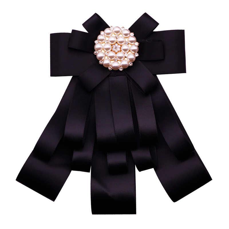 2b1ed2d91ef ... Ribbon Bow Brooches For Women Fabric Tie Corsage Shirt Dress Luxury Rhinestone  Bowknot Pearl Brooch Pins ...