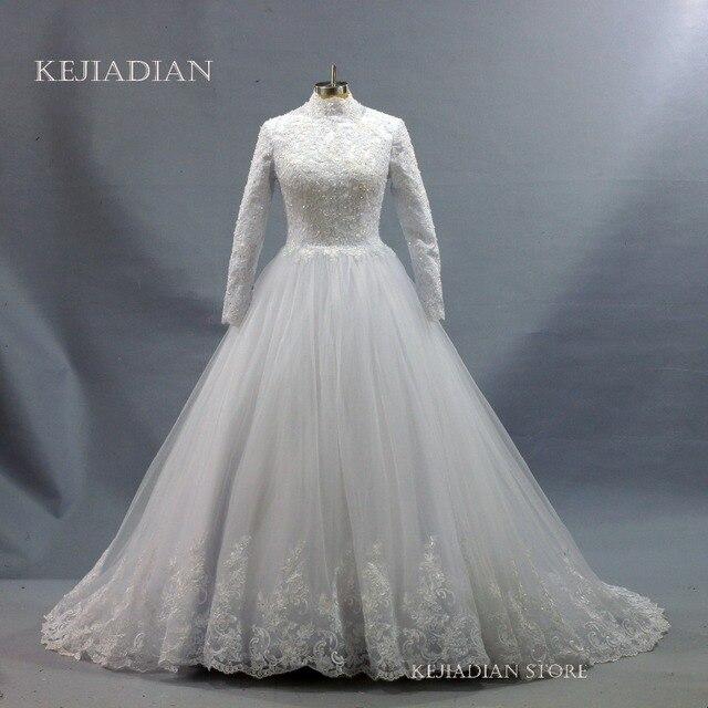 2018 islamic Wedding Dresses Hijab Long Sleeve Muslim Unique Wedding ...