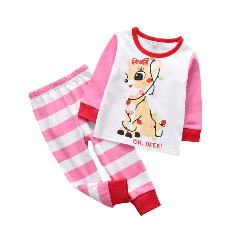 Winter Baby Clothes Sets Christmas Clothing Sets Deer Snow Man Santa Claus Print Pulovers+Pants Sets