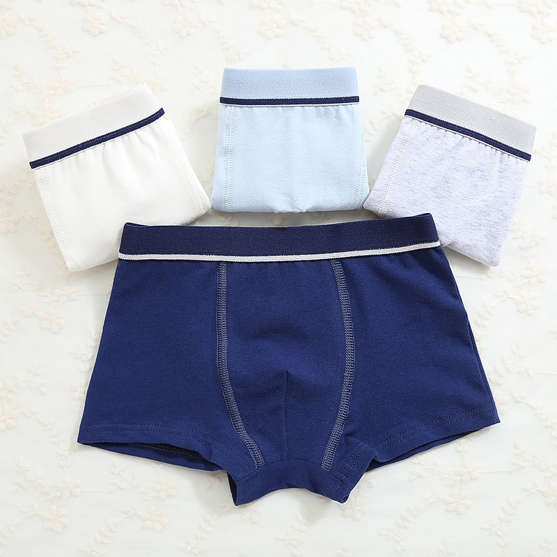 4pcs/lot New Boys Underpants Pure Color Cotton Underpants for Kids Boys Boxer   Panties   Brand Children Clothing Qulity Underwear