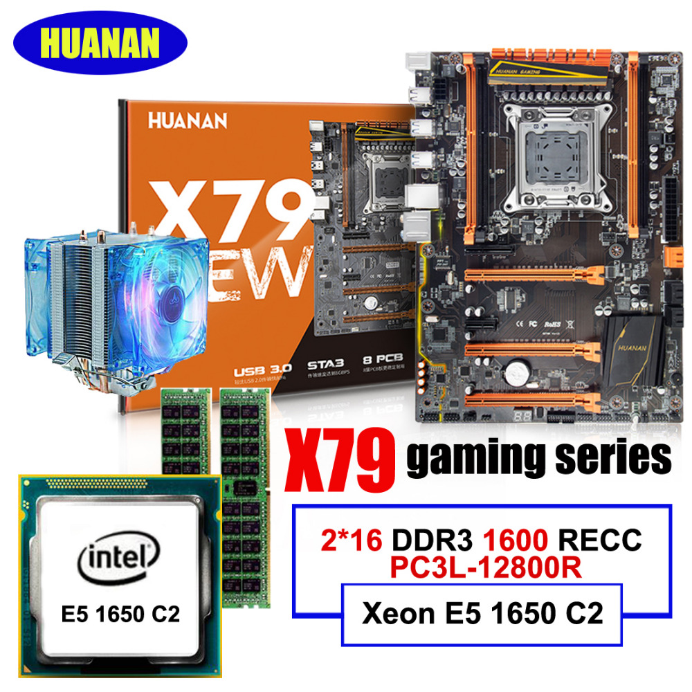 HUANAN ZHI deluxe X79 LGA2011 scheda madre con M.2 slot CPU Intel Xeon E5 1650 C2 3.2 GHz RAM 32G (2*16G) DDR3 1600 MHz RECC
