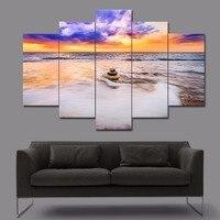 Unframed Zen Stone Beach Picture Print Canvas Modern Wall Art Seascape Sundown Photo Poster For Home