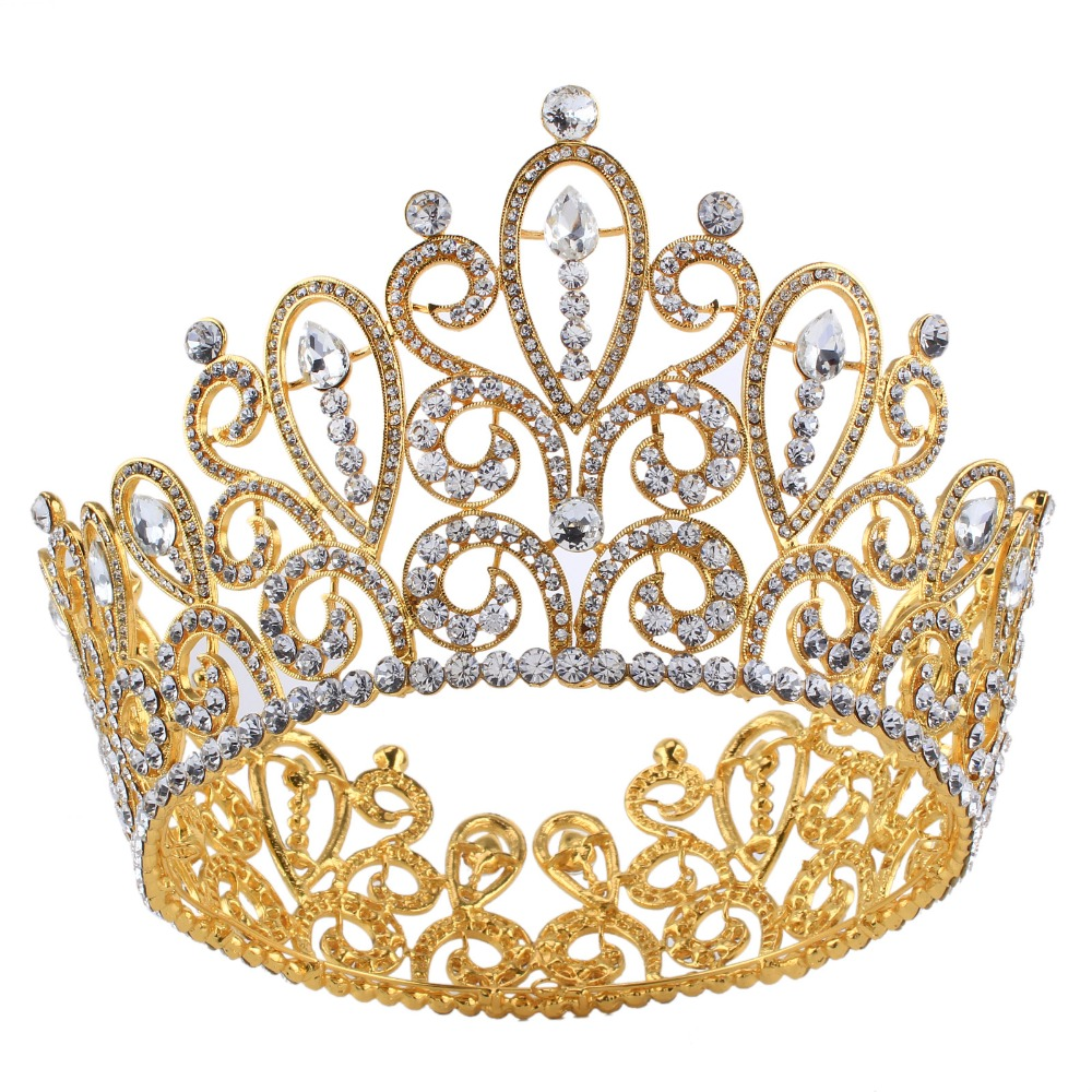 Romantic Gold Queen Tiara Crown Big Full Round Crystal Rhinestone Princess Pageant Prom Headpieces Bridal Wedding Hair Jewelry