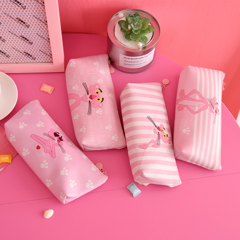 Cute Pink Panther Pencil Bag Pen Case For Girls Pouch Bag Make Up Case PU Stationery Pouch With Zipper School Supplies