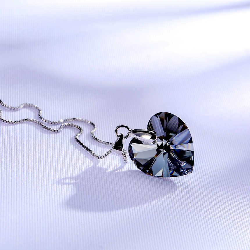 BAFFIN Original Cristais De Swarovski Colar de Pingente de Coração de Prata Para As Mulheres Collares Maxi Cor Amantes do Presente do Dia Dos Namorados