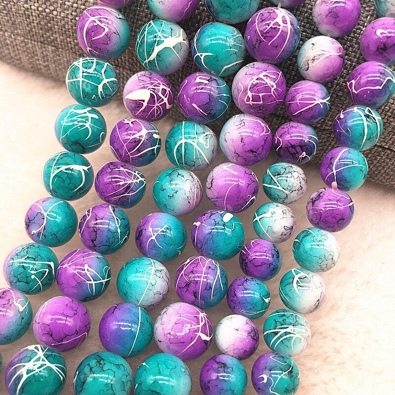 Atacado 4/6/8/10mm roxo & azul contas de vidro redondo solto espaçador contas padrão para fazer jóias diy pulseira colar #03
