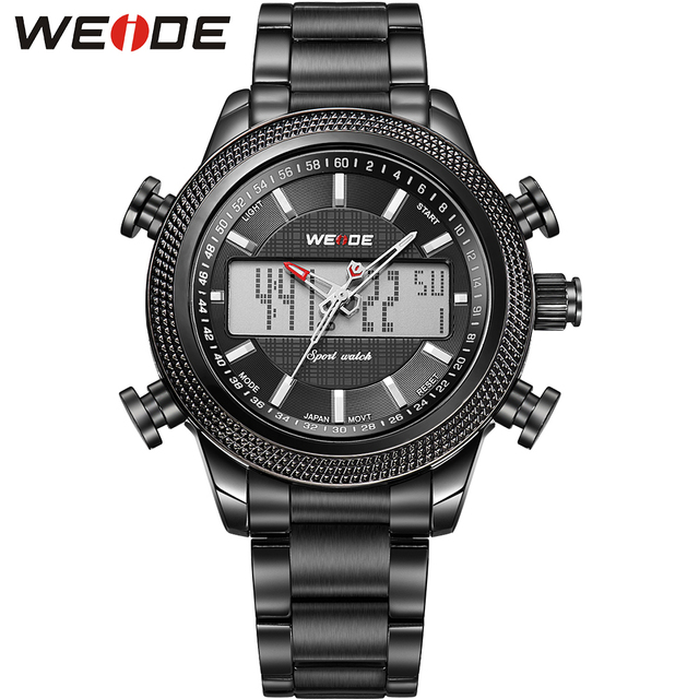 WEIDE Brand Outdoor Sports Watch Men Quartz Analog Digital Dual Time Display Waterproof Stainless Steel High Quality Products