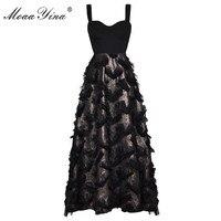 MoaaYina Fashion Designer Runway Dress Summer Women Spaghetti Strap Tassel Casual Holiday Sexy Party Elegant Slim