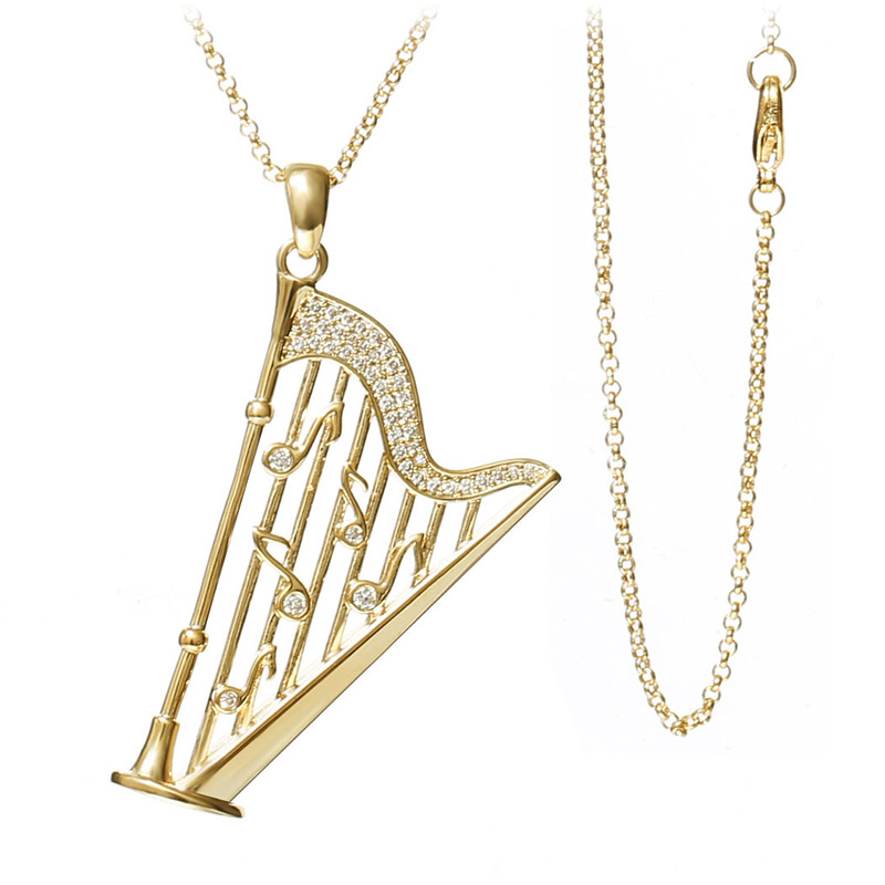 High end jewelry elegant design music note harp pendant necklace high end jewelry elegant design music note harp pendant necklace white gold color jewelry for women collares in pendant necklaces from jewelry accessories audiocablefo