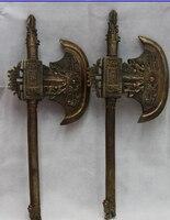 free Chinese Folk Copper Bronze Warrior weapon weaponry Ban Fu broadaxe hatchet Pair fast hatchet    -
