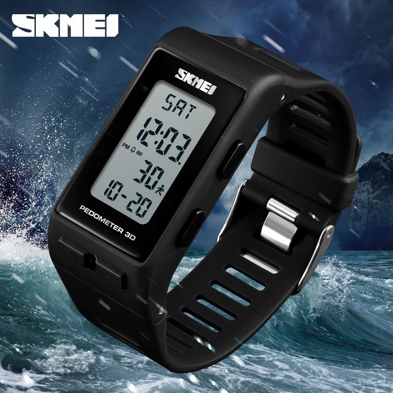 SKMEI 1363 Men Digital Wrist Watch Rectangle Pedometer Calories Alarm Waterproof Clock Hours Sport Watches Relogio Masculino