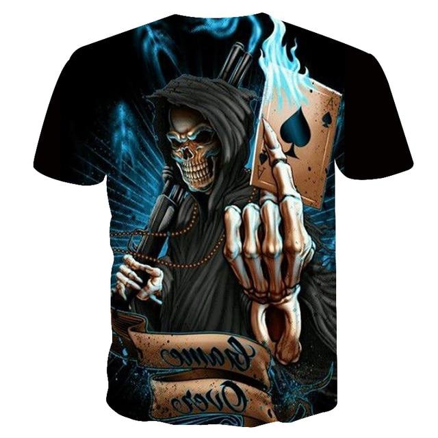 2018 nuevo 3d poker cráneo camisetas divertidas hombres caliente marca Mens  Casual 3D impreso camiseta hombres 2976f627f4310