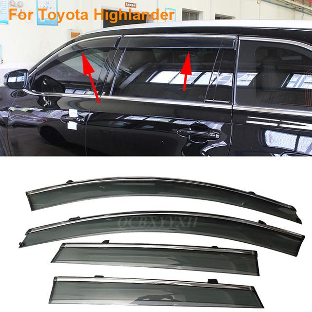 Coche Stylingg Toldos Refugios 4 unids/lote Viseras Ventana Para Toyota Highlander 2009-2016 Sol protección contra la Lluvia Cubre Las Pegatinas