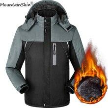 Mountainskin Для мужчин зимние куртки 9XL Водонепроницаемый ветрозащитная куртка с капюшоном Для мужчин s толстые флисовые парки мужские теплые Брендовые пальто LA531
