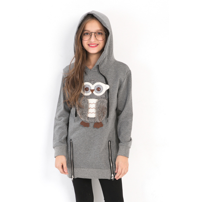 Girl Children's Clothing Sweater Owl Animal Cute Teen Girls Fall and Winter Wear Hooded Sweater Grey Long Sleeve Pullover Tops light grey simple long sleeves sweater