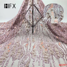 HFX Sequins Embroidery Lace, Nigerian Blush Pink Lace Fabrics, African Fabric 2019 for occasions high quality 5 yards F2297