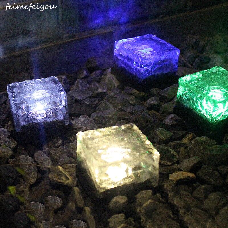 Solar Ice Tile Lights Glass Buried Lights LED Floor Lights Outdoor Solar Decorative Lights коньки ледовые для девочки ice blade solar раздвижные цвет розовый желтый белый размер l 38 41