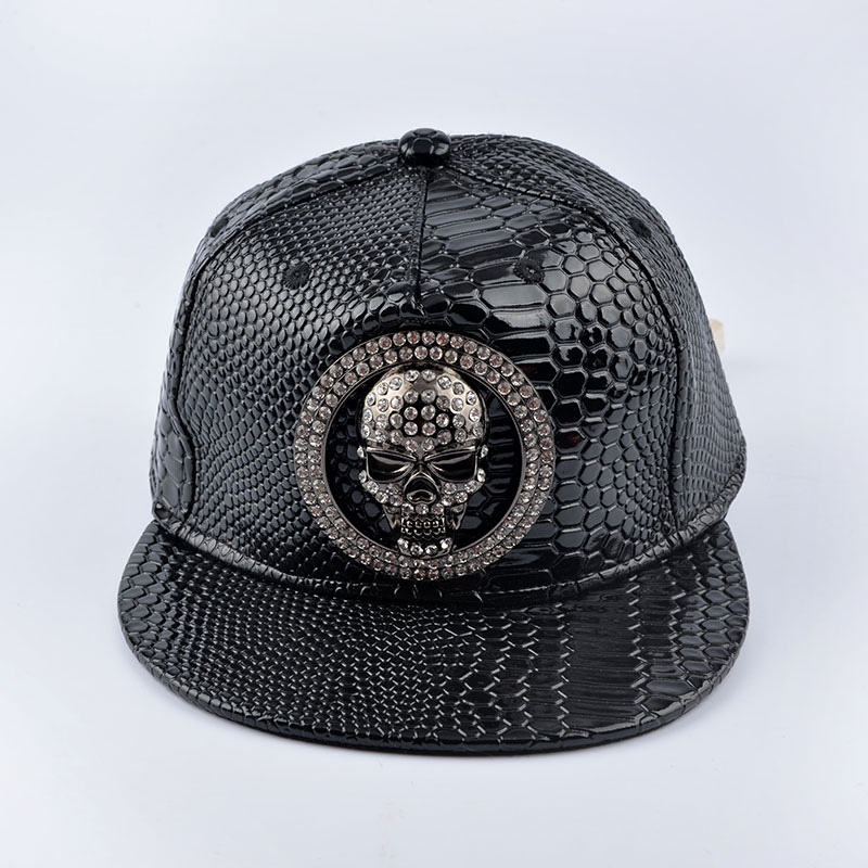 2016 Europe Skeletons diamond cap Summer Bone Hip Hop Snapback Caps Sun Hats black leather Baseball Cap For Men Women Teens цена
