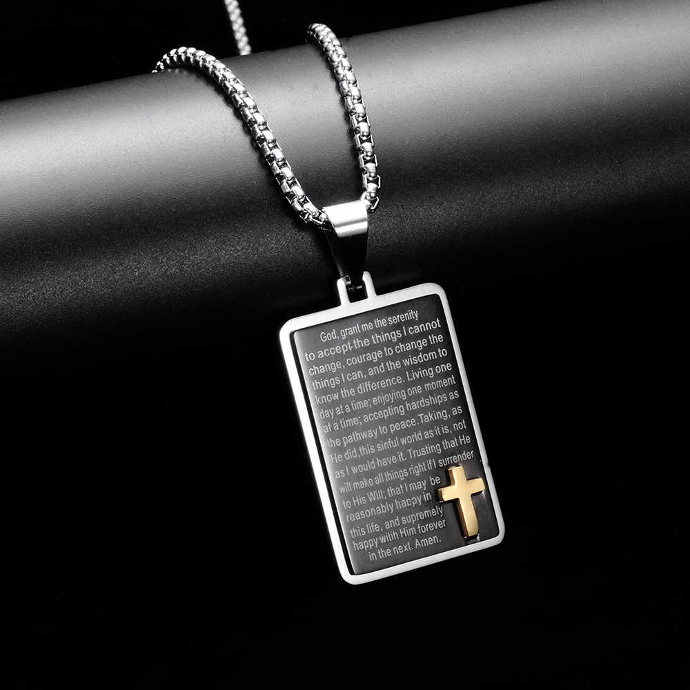 Krzyż naszyjnik dla mężczyzn bizantyjski ze stali nierdzewnej łańcuch Christian czarne złoto pisma świętego wisiorek mężczyzna Punk Rock ozdoby