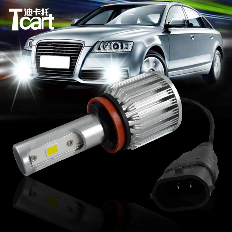 Tcart 2x High Power Car LED Fog Driving Lights Auto Led Bulb H8 H9 H11 COB White Fog Lamp 30W 6000K For Mitsubishi Asx 2011 2012