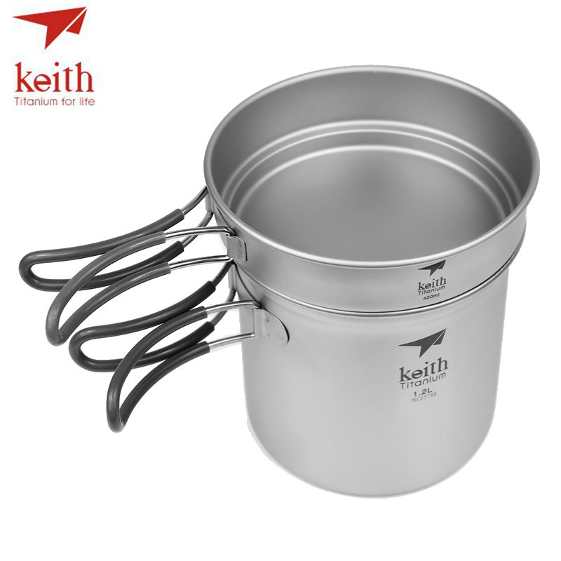 Keith 2 In1 Titanium 400ml Pan 1.2L Cooking Pot Set Folding Handle Cook Set Ultralight Camping Picnic Cookware Utensil Ti6013 keith 3pcs titanium pans bowls set with folding handle cook sets titanium pot set camping hiking picnic cookware utensils ti6053