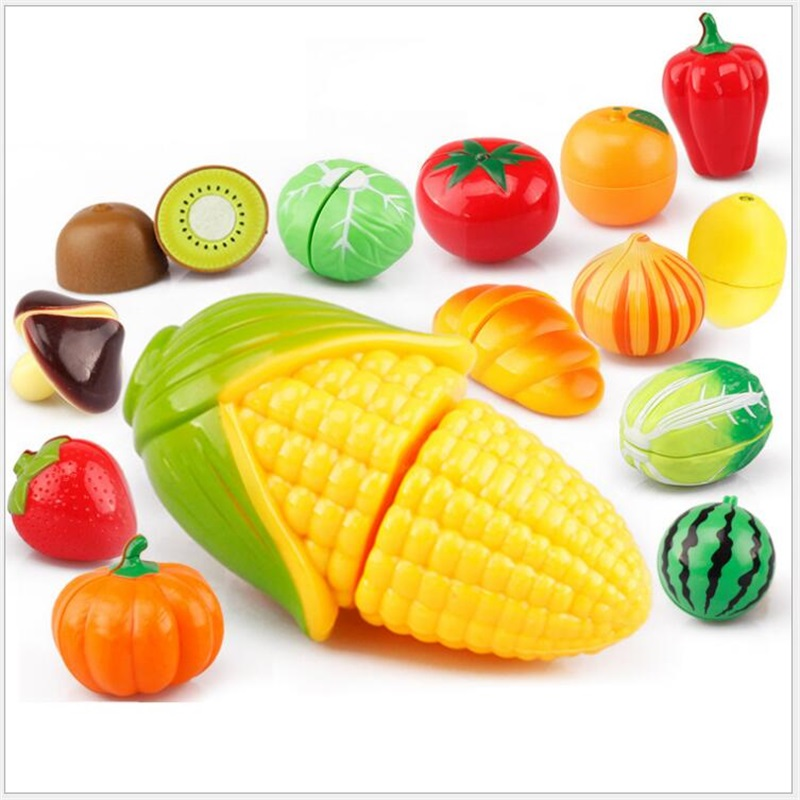 Hot Sale Cutting Fruit Vegetable Food Pretend Play Toy For Children Kid Educational Kid's Kitchen Birthday Children's Day Gifts